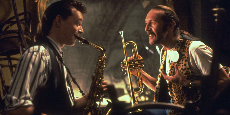 The Commitments. Image shows from L to R: Dean Fay (Félim Gormley), Joey