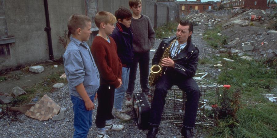 The Commitments. Image shows from L to R: Unknown, Unknown, Unknown, Unknown, Dean Fay (Félim Gormley).