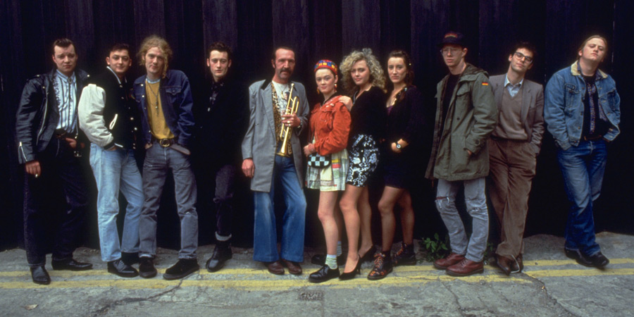 The Commitments. Image shows from L to R: Dean Fay (Félim Gormley), Derek Scully (Kenneth McCluskey), Outspan Foster (Glen Hansard), Jimmy Rabbitte (Robert Arkins), Joey