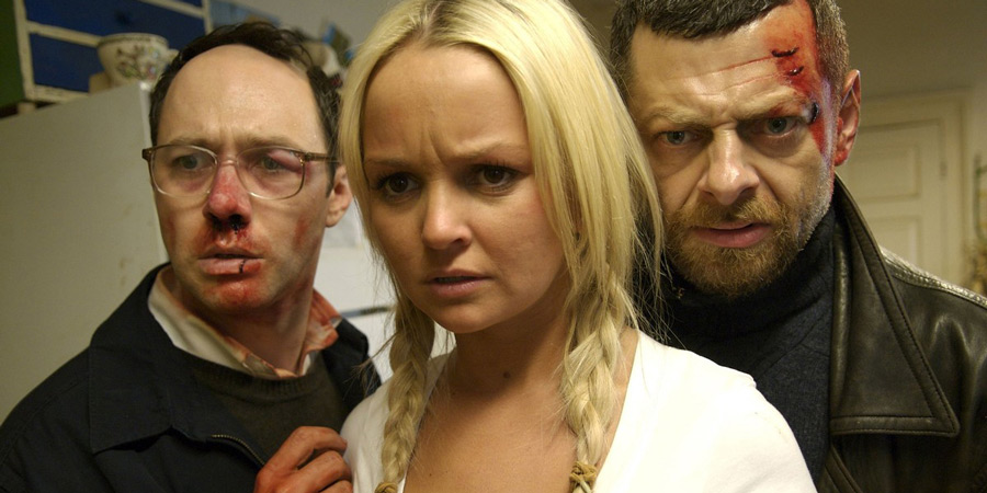 The Cottage. Image shows from L to R: Peter (Reece Shearsmith), Tracey (Jennifer Ellison), David (Andy Serkis).