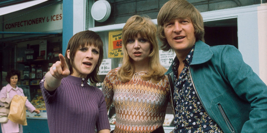 The Fenn Street Gang. Image shows from L to R: Maureen Bullock (Liz Gebhardt), Sharon Eversleigh / Duffy (Carol Hawkins), Eric Duffy (Peter Cleall). Copyright: London Weekend Television.