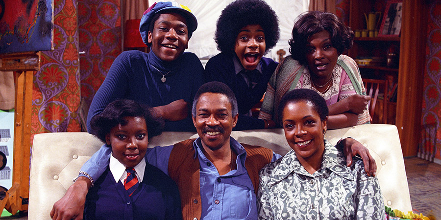 The Fosters. Image shows from L to R: Shirley Foster (Sharon Rosita), Sonny Foster (Lenny Henry), Samuel Foster (Norman Beaton), Benjamin Foster (Lawrie Mark), Pearl Foster (Isabelle Lucas), Vilma (Carmen Munroe). Copyright: London Weekend Television.