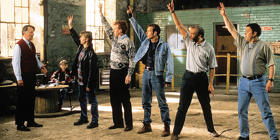The Full Monty. Image shows from L to R: Gerald (Tom Wilkinson), Nathan (William Snape), Gaz (Robert Carlyle), Lomper (Steve Huison), Guy (Hugo Speer), Horse (Paul Barber), Dave (Mark Addy).
