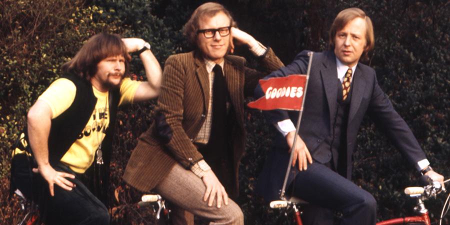 The Goodies. Image shows from L to R: Bill (Bill Oddie), Graeme (Graeme Garden), Tim (Tim Brooke-Taylor). Copyright: BBC.