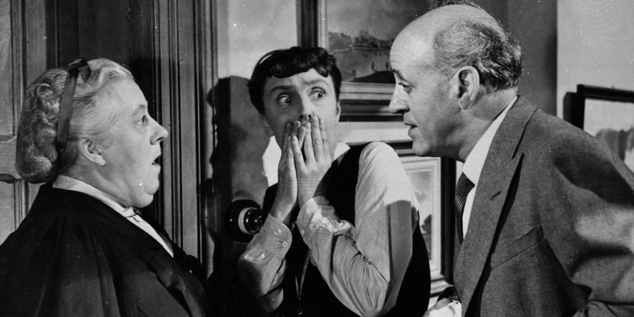 The Happiest Days Of Your Life. Image shows from L to R: Muriel Whitchurch (Margaret Rutherford), Miss Gossage (Joyce Grenfell), Wetherby Pond (Alastair Sim). Copyright: London Films / Individual Pictures.