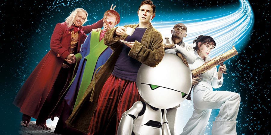 The Hitchhiker's Guide To The Galaxy. Image shows from L to R: Zaphod Beeblebrox (Sam Rockwell), Humma Kavula (John Malkovich), Arthur Dent (Martin Freeman), Ford Prefect (Mos Def), Trillian (Zooey Deschanel).