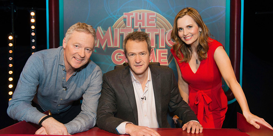 The Imitation Game. Image shows from L to R: Rory Bremner, Alexander Armstrong, Debra Stephenson. Copyright: Big Talk Productions.