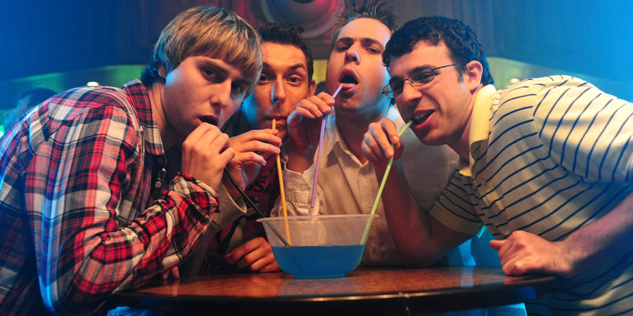 The Inbetweeners Movie. Image shows from L to R: Jay Cartwright (James Buckley), Neil Sutherland (Blake Harrison), Simon Cooper (Joe Thomas), Will MacKenzie (Simon Bird). Copyright: Bwark Productions.