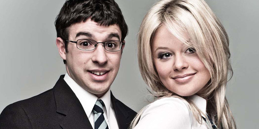 Simon Bird and Emily Atack