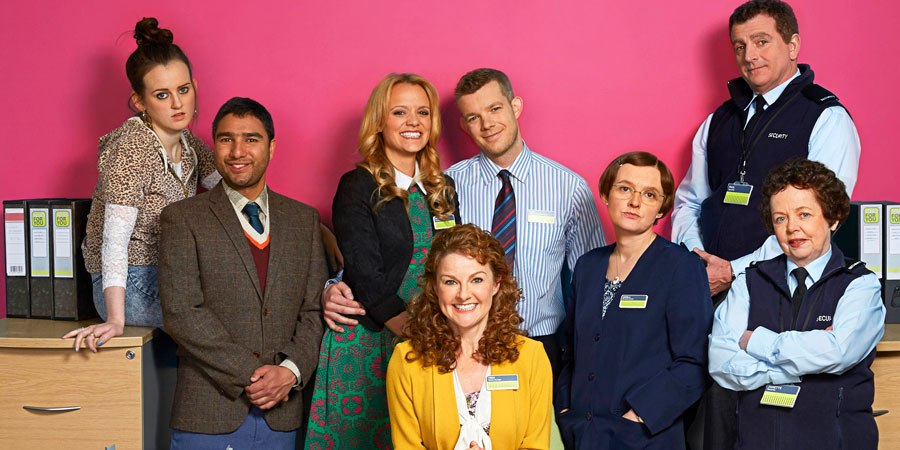 The Job Lot. Image shows from L to R: Bryony (Sophie McShera), Ash (Nick Mohammed), Natalie (Laura Aikman), Trish (Sarah Hadland), Karl (Russell Tovey), Angela (Jo Enright), Paul (Martin Marquez), Janette (Angela Curran). Copyright: Big Talk Productions.