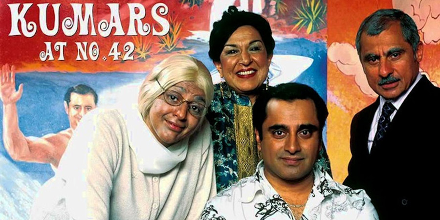 The Kumars At No. 42. Image shows from L to R: Ummi (Meera Syal), Mum (Indira Joshi), Sanjeev Kumar (Sanjeev Bhaskar), Dad (Vincent Ebrahim). Copyright: Hat Trick Productions.
