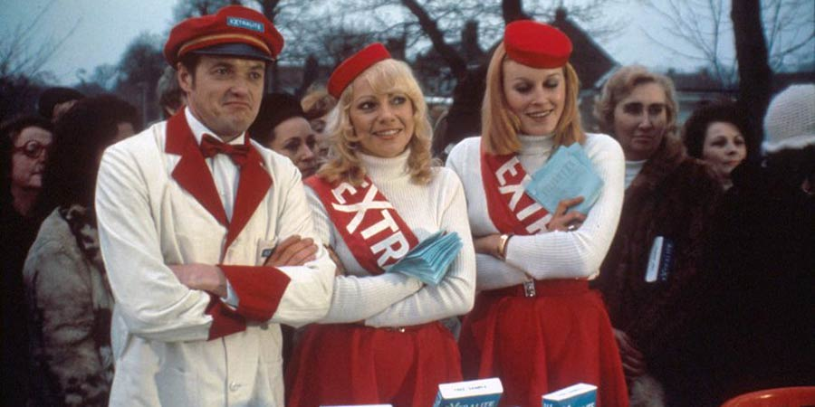 The Likely Lads. Image shows from L to R: Terry Collier (James Bolam), Demonstrator (Barbara Elliott), Demonstrator (Stephanie Lawrence). Copyright: Anglo-EMI.