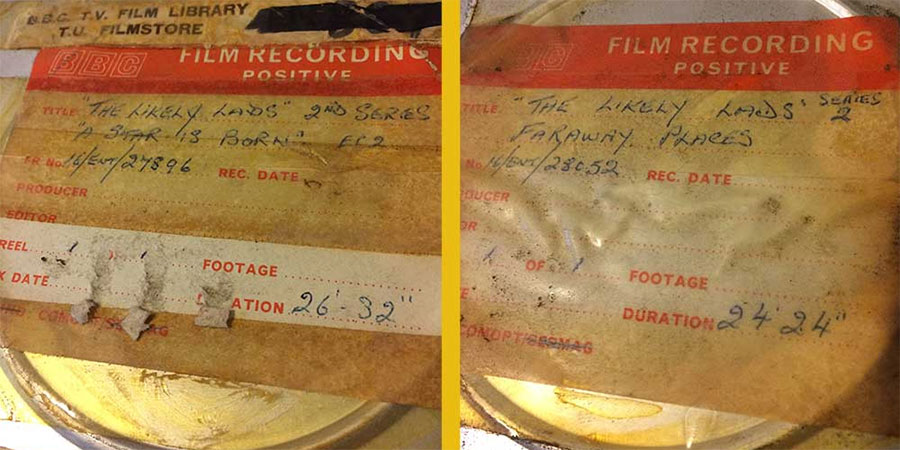 Film cans with The Likely Lads labels. Copyright: Network.