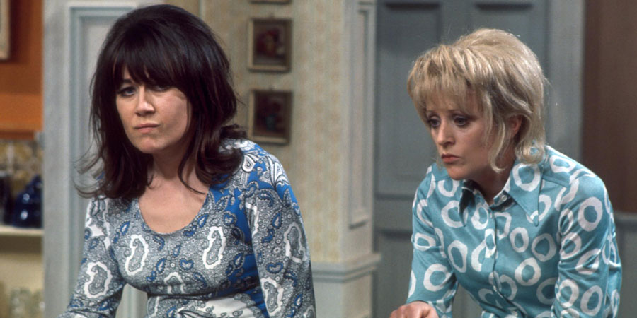 The Liver Birds. Image shows from L to R: Sandra Hutchinson (Nerys Hughes), Beryl Hennessey (Polly James). Copyright: BBC.
