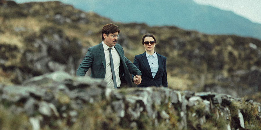 The Lobster. Image shows from L to R: David (Colin Farrell), Short Sighted Woman (Rachel Weisz).
