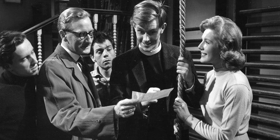 The Man Who Liked Funerals. Image shows from L to R: Nutter (Brian Tyler), Simon Hurd (Leslie Phillips), Tommy (Anthony Green), Rev. Pitt (Shaun O'Riordan), Stella (Susan Beaumont). Copyright: Rank Organisation / ITV Studios.