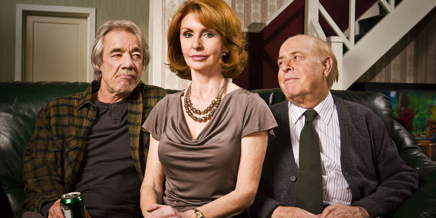 The Old Guys. Image shows from L to R: Tom (Roger Lloyd-Pack), Sally (Jane Asher), Roy (Clive Swift). Copyright: BBC.