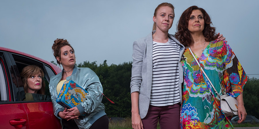 The Other One. Image shows from L to R: Marilyn (Siobhan Finneran), Cat (Lauren Socha), Cathy (Ellie White), Tess (Rebecca Front). Copyright: Tiger Aspect Productions.