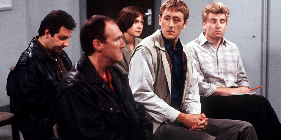 The Piglet Files. Image shows from L to R: Lewis (Steven Law), Adrian Dexter (Michael Percival), Flint (Louise Catt), Peter 'Piglet' Chapman (Nicholas Lyndhurst), Trueman (Paul Cooper). Copyright: London Weekend Television.