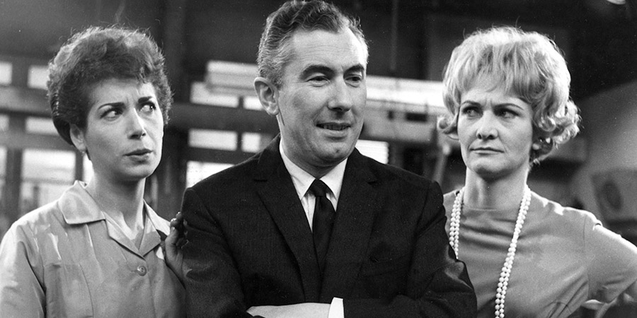 The Rag Trade. Image shows from L to R: Paddy Fleming (Miriam Karlin), Harold Fenner (Peter Jones), Carole Taylor (Sheila Hancock). Copyright: BBC.