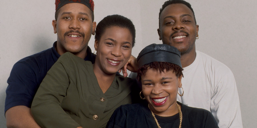 The Real McCoy. Image shows from L to R: Curtis Walker, Llewella Gideon, Collette Johnson, Ishmael Thomas. Copyright: BBC.