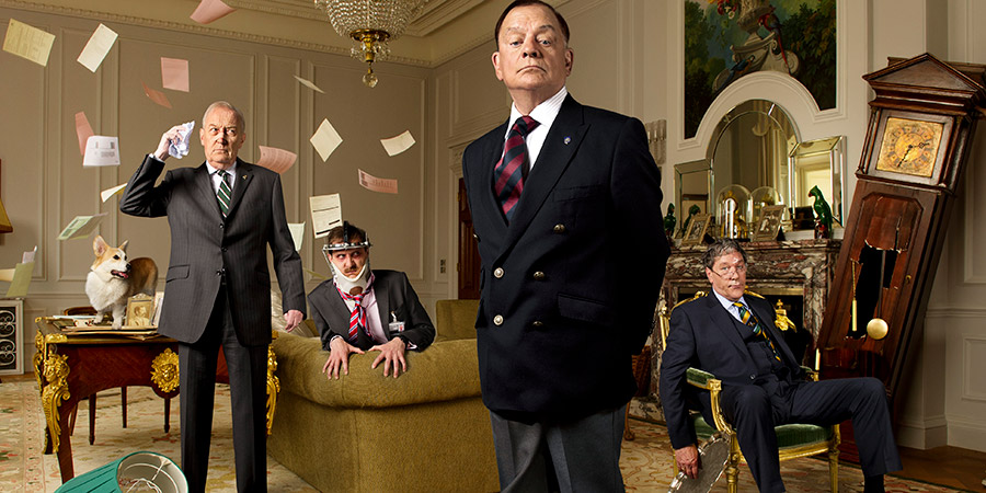 The Royal Bodyguard. Image shows from L to R: Colonel Dennis Whittington (Geoffrey Whitehead), Yates (Tim Downie), Captain Guy Hubble (David Jason), Sir Edward Hastings (Timothy Bentinck).