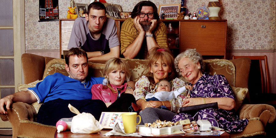 The Royle Family. Image shows from L to R: Dave Best (Craig Cash), Antony Royle (Ralf Little), Denise Royle / Best (Caroline Aherne), Jim Royle (Ricky Tomlinson), Barbara Royle (Sue Johnston), Norma Speakman (Liz Smith). Copyright: Granada Productions / Jellylegs.