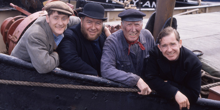 The Tales Of Para Handy. Image shows from L to R: Sunny Jim (Andrew Fairlie), Para Handy (Gregor Fisher), Macphail (Rikki Fulton), Dougie (Sean Scanlan). Copyright: BBC.