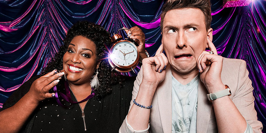 The Time It Takes. Image shows from L to R: Alison Hammond, Joe Lycett. Copyright: Hat Trick Productions.