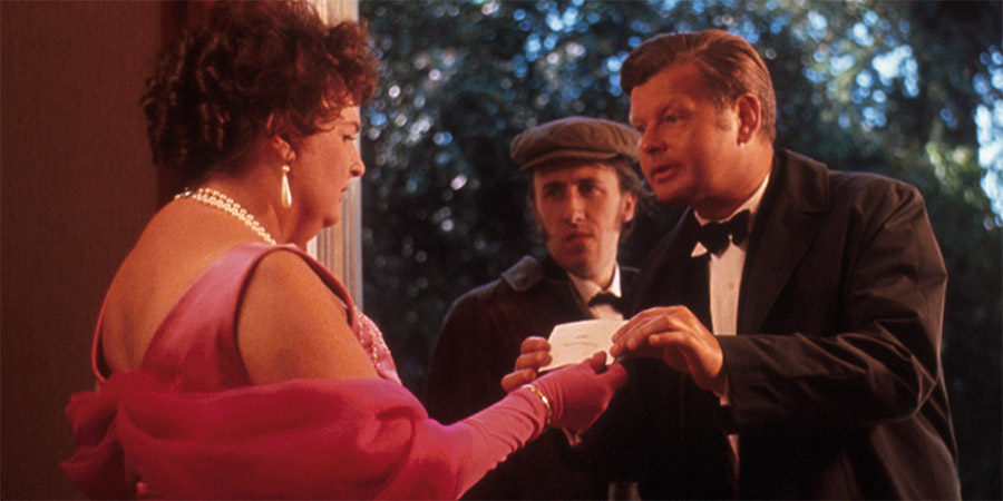 The Waiters. Image shows from L to R: Lady of the House (Pamela Cundell), Waiter (David Battley), Waiter (Benny Hill).