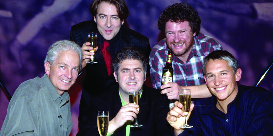 They Think It's All Over. Image shows from L to R: David Gower, Jonathan Ross, Nick Hancock, Rory McGrath, Gary Lineker.