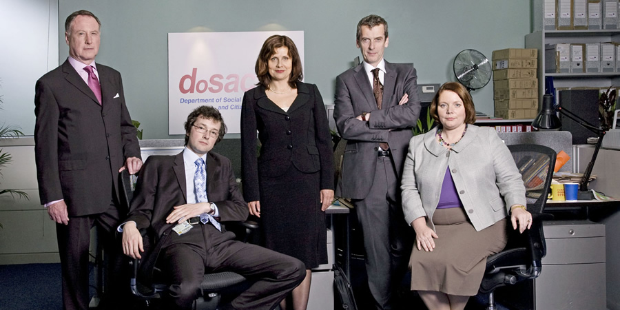 The Thick Of It. Image shows from L to R: Glenn Cullen (James Smith), Oliver Reeder (Chris Addison), Nicola Murray (Rebecca Front), Malcolm Tucker (Peter Capaldi), Terri Coverley (Joanna Scanlan). Copyright: BBC.
