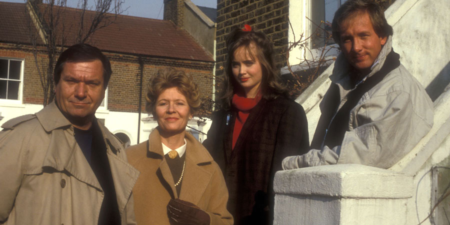 Three Up, Two Down. Image shows from L to R: Sam Tyler (Michael Elphick), Daphne Trenchard (Angela Thorne), Angie Tyler (Lysette Anthony), Nick Tyler (Ray Burdis). Copyright: BBC.