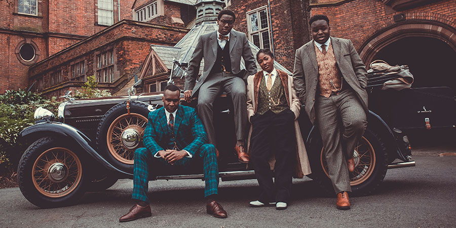 Timewasters. Image shows from L to R: Jason (Kadiff Kirwan), Nick (Daniel Lawrence Taylor), Lauren (Adelayo Adedayo), Horace (Samson Kayo). Copyright: Big Talk Productions.