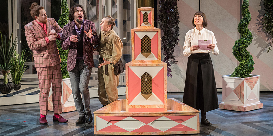 Twelfth Night. Image shows from L to R: Sir Andrew Aguecheek (Daniel Rigby), Sir Toby Belch (Tim McMullan), Fabia (Imogen Doel), Malvolia (Tamsin Greig).