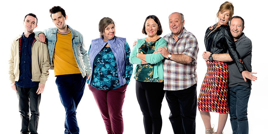 Two Doors Down. Image shows from L to R: Ian (Jamie Quinn), Gordon (Kieran Hodgson), Christine (Elaine C. Smith), Beth (Arabella Weir), Eric (Alex Norton), Cathy (Doon Mackichan), Colin (Jonathan Watson). Copyright: BBC.