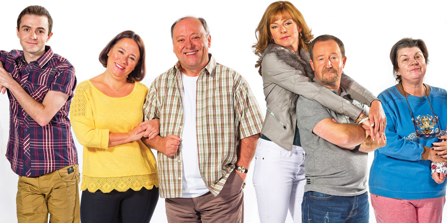 Two Doors Down. Image shows from L to R: Ian (Jamie Quinn), Beth (Arabella Weir), Eric (Alex Norton), Cathy (Doon Mackichan), Colin (Jonathan Watson), Christine (Elaine C. Smith). Copyright: BBC.