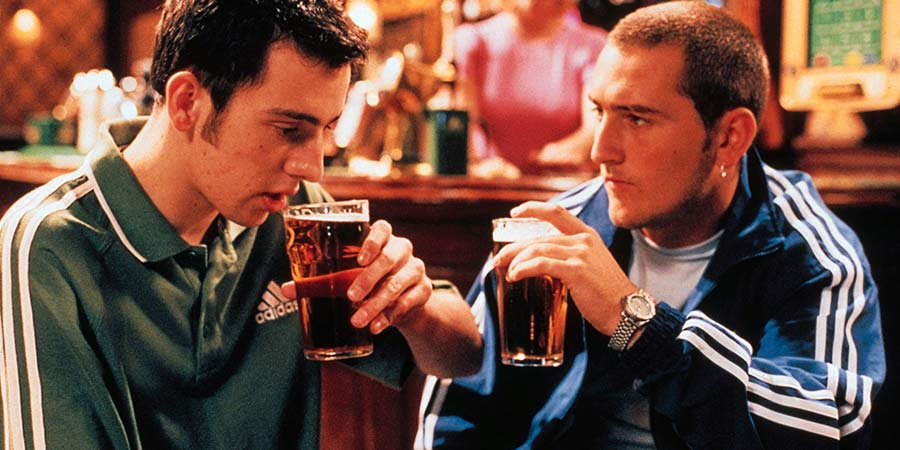 Two Pints Of Lager And A Packet Of Crisps. Image shows from L to R: Jonny (Ralf Little), Gaz (Will Mellor). Copyright: BBC.