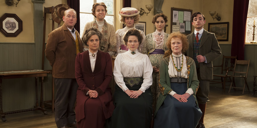 Up The Women. Image shows from L to R: Frank (Adrian Scarborough), Helen (Rebecca Front), Gwen (Vicki Pepperdine), Emily (Georgia Groome), Margaret (Jessica Hynes), Eva (Emma Pierson), Myrtle (Judy Parfitt), Thomas (Ryan Sampson).