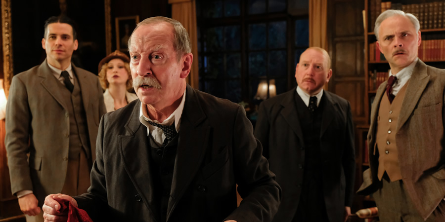 Urban Myths: The Mysterious Case Of Agatha Christie. Image shows from L to R: Col. Archie Christie (Rob James Collier), Nancy Neele (Celeste Dodwell), Sir Arthur Conan Doyle (Bill Paterson), Chief Inspector Danders (Adrian Scarborough), Billy (Mark Bonnar).
