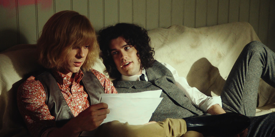 Urban Myths: David Bowie And Marc Bolan. Image shows from L to R: David Bowie (Luke Treadaway), Marc Bolan (Jack Whitehall). Copyright: Lion Television.