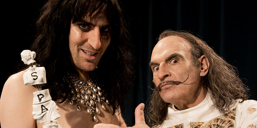 Urban Myths: The Dali And The Cooper. Image shows from L to R: Alice Cooper (Noel Fielding), Salvador Dali (David Suchet).