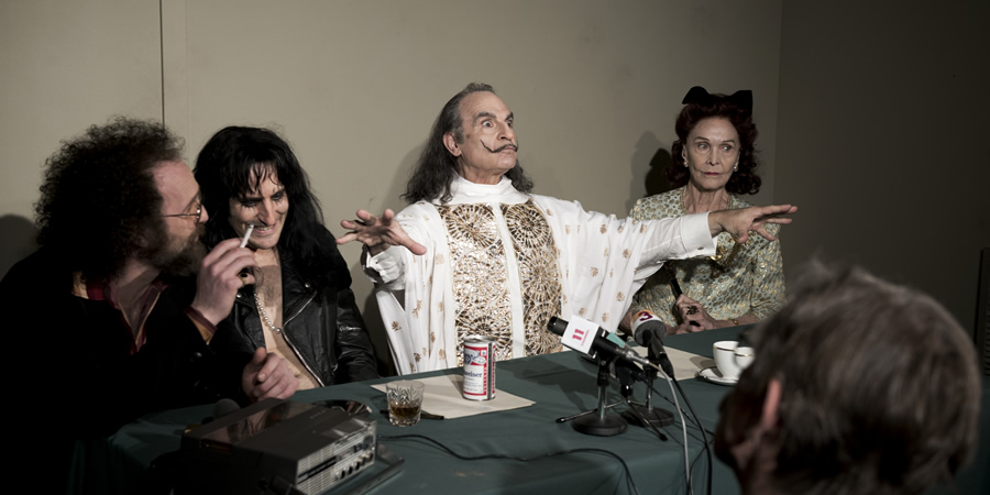 Urban Myths: The Dali And The Cooper. Image shows from L to R: Shep Gordon (Paul Kaye), Alice Cooper (Noel Fielding), Salvador Dali (David Suchet), Gala Dali (Sheila Hancock). Copyright: Me & You Productions.