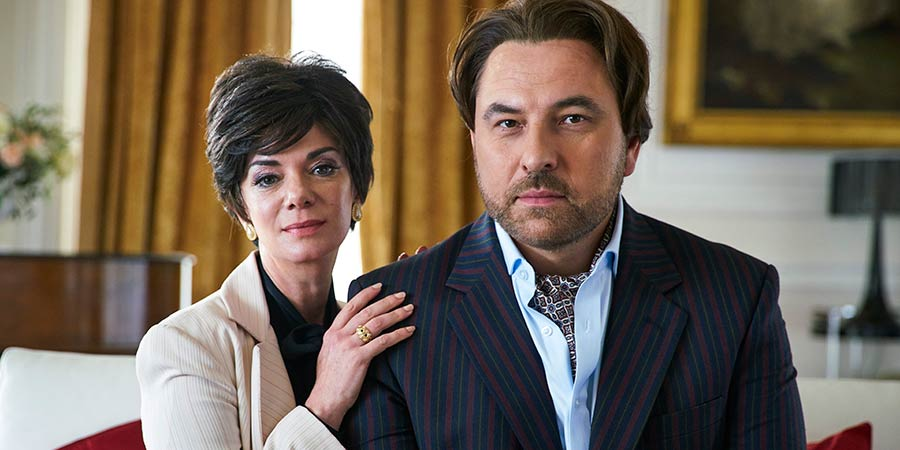 Urban Myths: Joan Collins. Image shows from L to R: Joan Collins (Victoria Hamilton), Monty (David Walliams). Copyright: King Bert Productions.