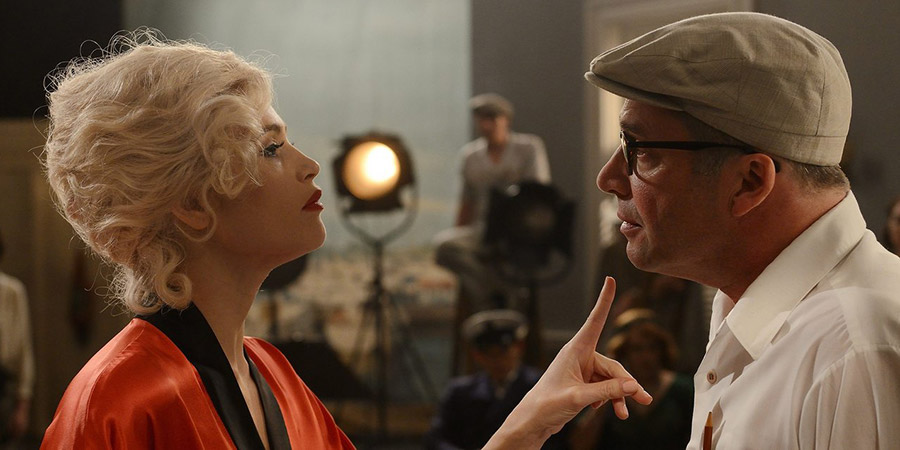Urban Myths: Marilyn Monroe & Billy Wilder. Image shows from L to R: Marilyn Monroe (Gemma Arterton), Billy Wilder (James Purefoy). Copyright: Little Rock.