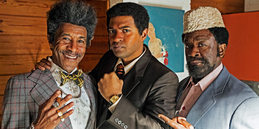 Urban Myths: The Greatest. Of All Time.. Image shows from L to R: Don King (Danny John-Jules), Muhammad Ali (Noel Clarke), Herbert Muhammad (Lucian Msamati).