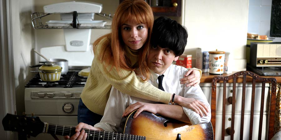 Urban Myths: Scrambled Eggs. Image shows from L to R: Jane Asher (Rosie Day), Paul McCartney (Tom Connor). Copyright: Spelthorne Community Television.