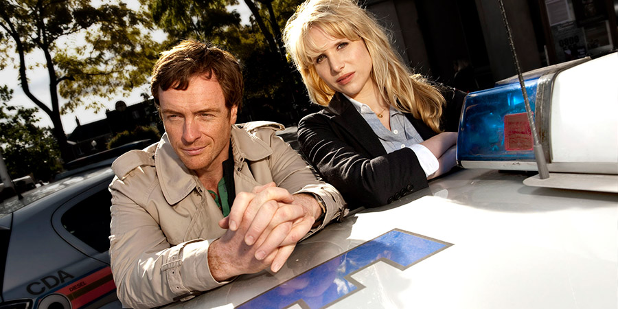 Vexed. Image shows from L to R: D.I. Jack Armstrong (Toby Stephens), D.I. Kate Bishop (Lucy Punch). Copyright: Greenlit Rights.