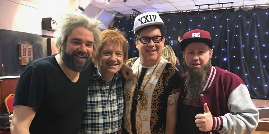 Vic & Bob's Big Night Out. Image shows from L to R: Matt Berry, Bob Mortimer, Vic Reeves, Matt Lucas. Copyright: BBC.