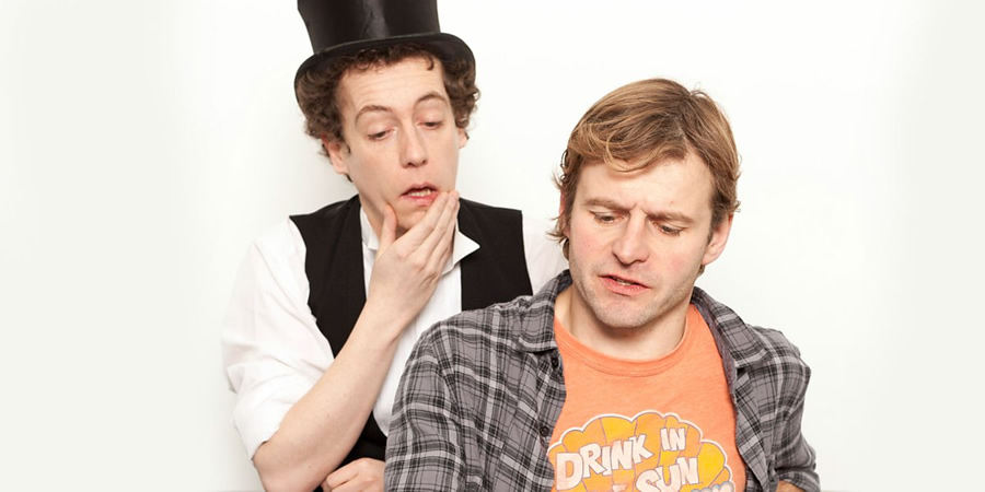 The Victorian In The Wall. Image shows from L to R: Mr Elms (Matthew Steer), Guy (Will Adamsdale). Copyright: BBC.